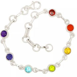 Jewelry - 🌈 Multi Gemstone Healing Chakra Sterling Bracelet